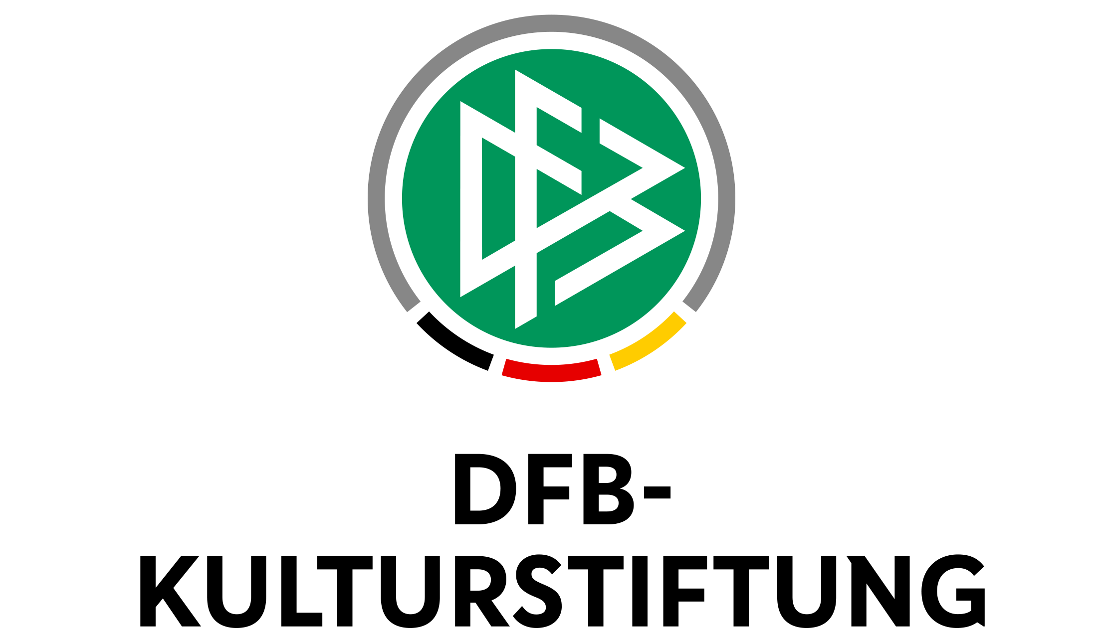 Logo of the DFB Culture Foundation - a green circle with stilised Letters DFB sourrounded by a grey line with lines in black-red-gold at the bottom. Underneath the name of the foundation