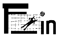 The Logo of the Network F_in Women in Football - a football goal net between the letters