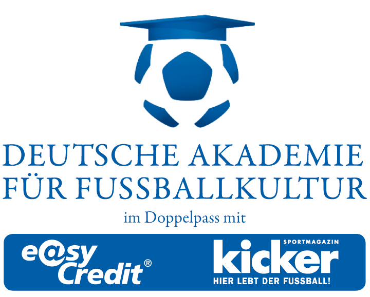 Logo of the German Academy for Football Culture - a football with a college graduation hat on. Underneath the name and the logos of the sponsors, the Kicker football newspaper and the Easy Credit Bank.